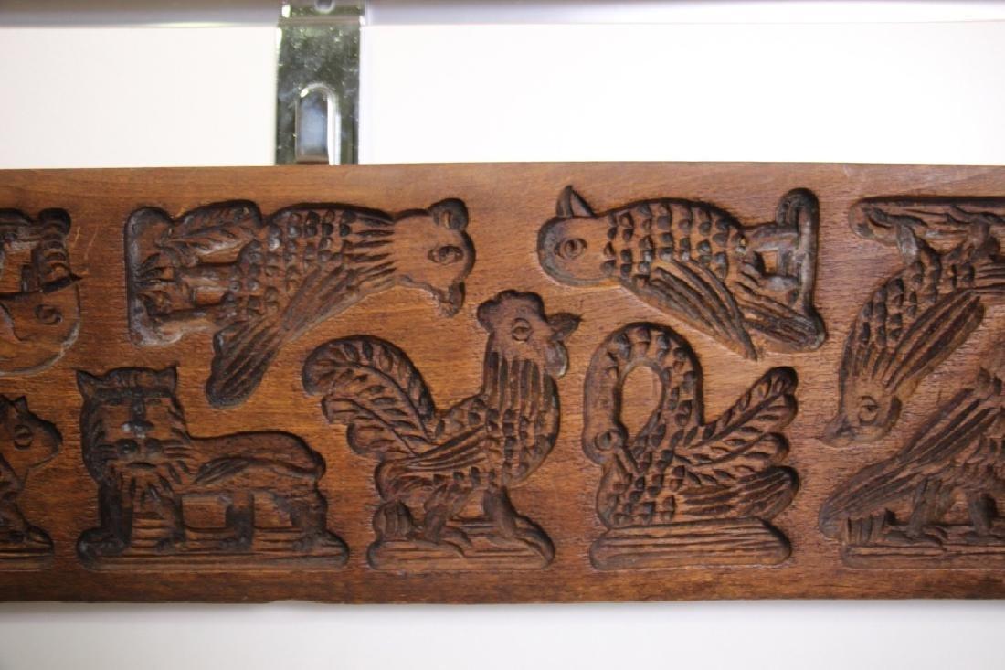 Folk Art Carved Wood German Springerle Cookie Mold - 3