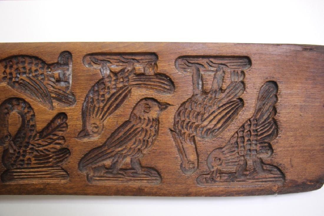 Folk Art Carved Wood German Springerle Cookie Mold - 4