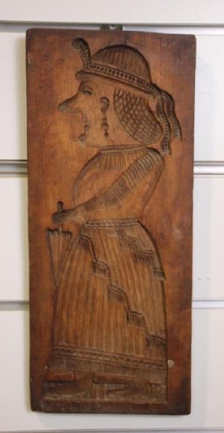 Wooden Cookie Mold Native Woman (Spanish?)