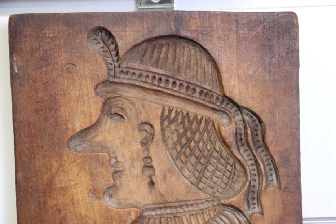 Wooden Cookie Mold Native Woman (Spanish?) - 2