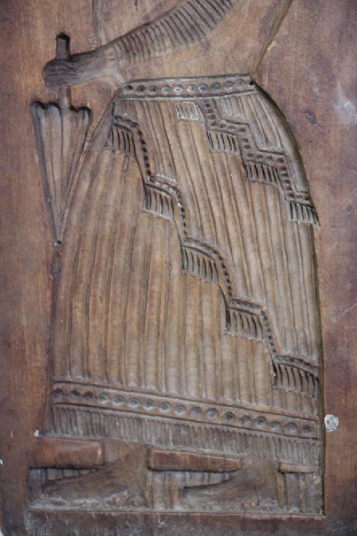 Wooden Cookie Mold Native Woman (Spanish?) - 3