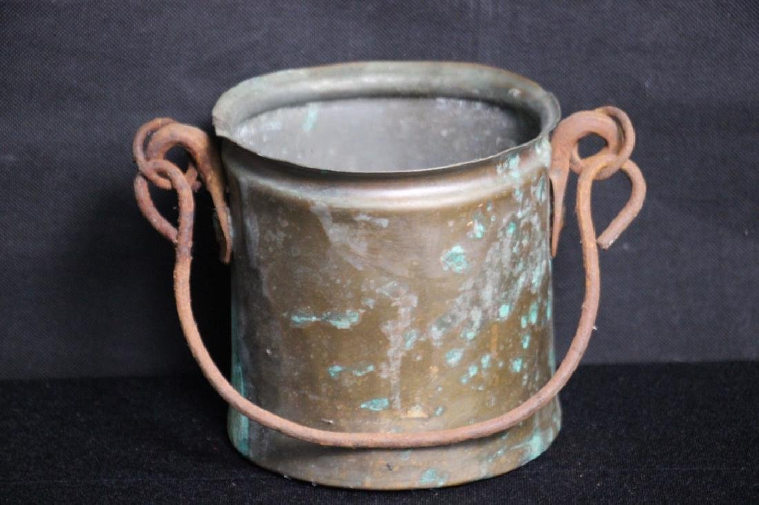 Brass Bucket with Iron Handle (Rusted)