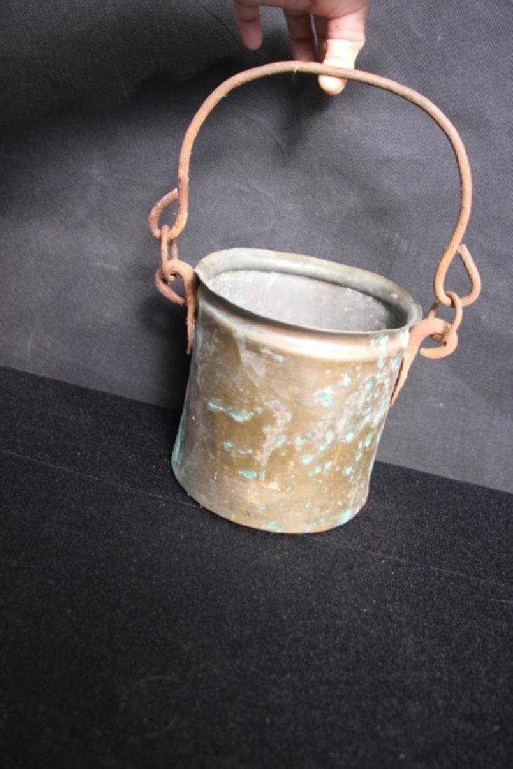Brass Bucket with Iron Handle (Rusted) - 2