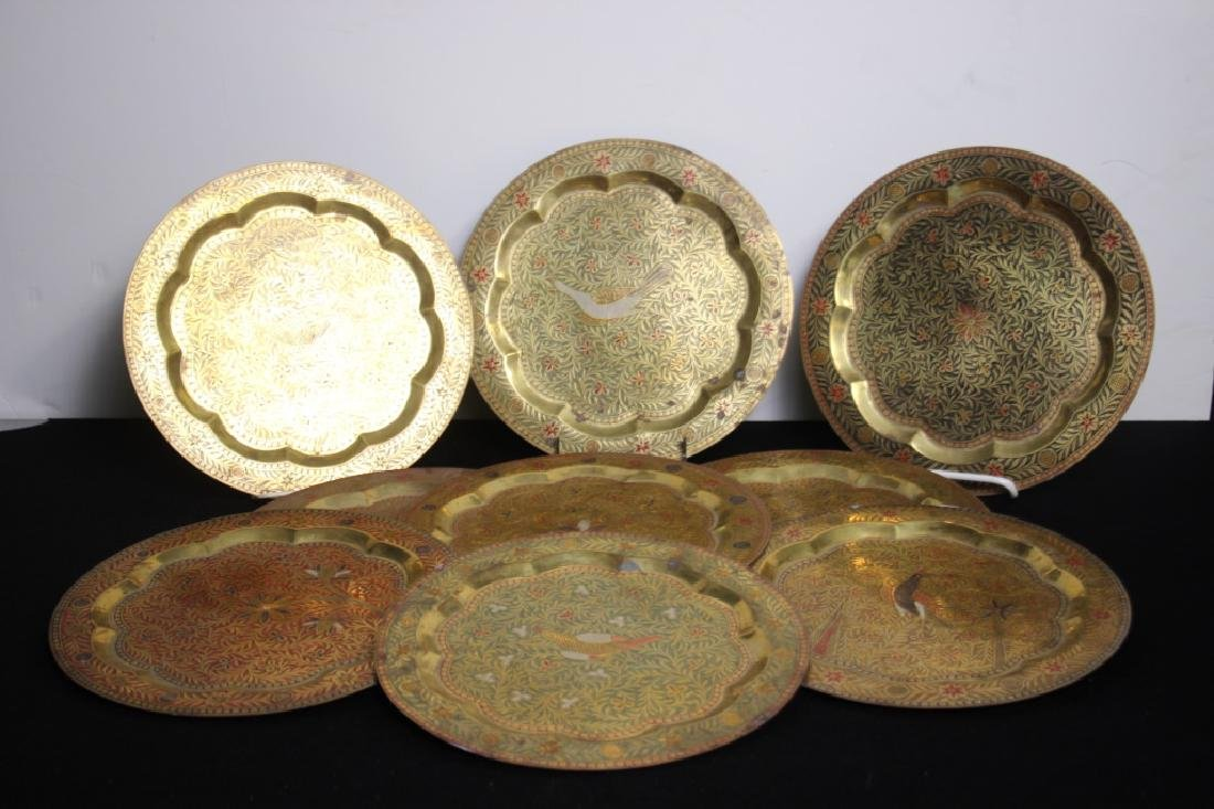 14 Tooled Middle Eastern Brass Plates