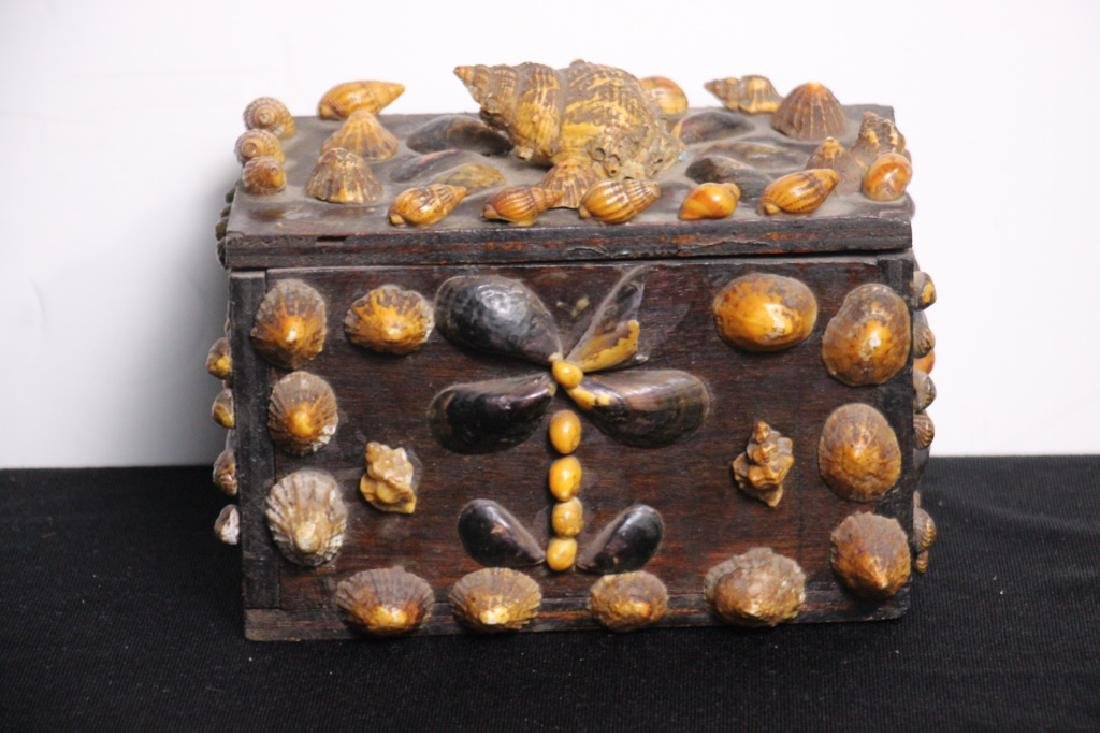 Shell Covered Vintage Wood Box