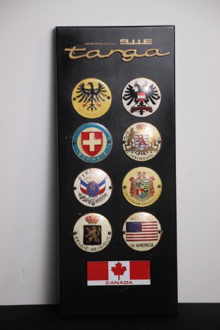 Porsche 911E Targa Plaque w/Country Emblems