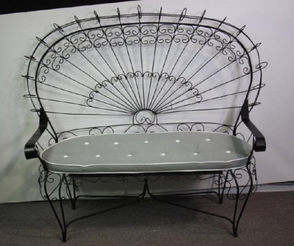 Victorian Style Peacock Back Wire Garden Bench