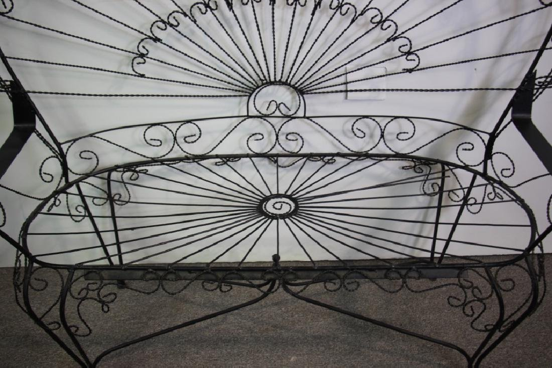 Victorian Style Peacock Back Wire Garden Bench - 5