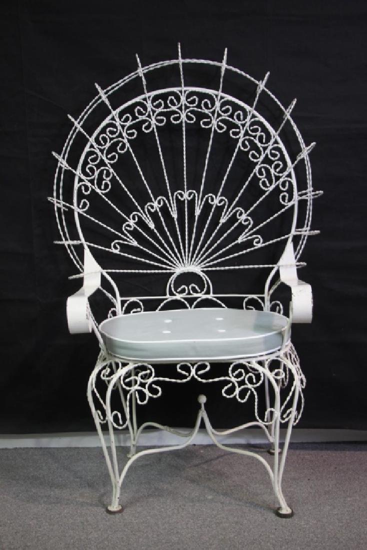 Victorian Style Peackock Back Wire Garden Seat