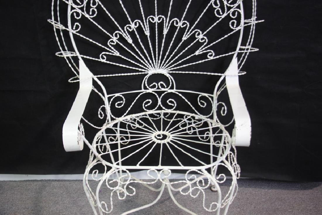 Victorian Style Peackock Back Wire Garden Seat - 3