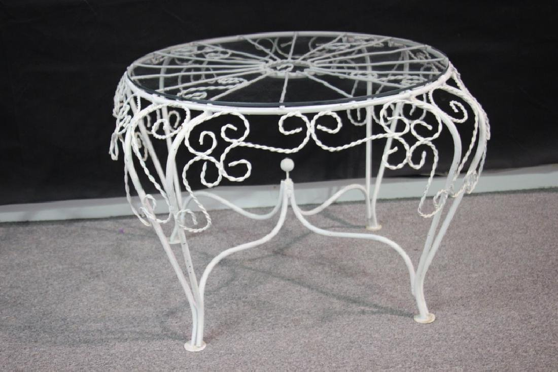 Outdoor Wire Side Table w/Glass Top