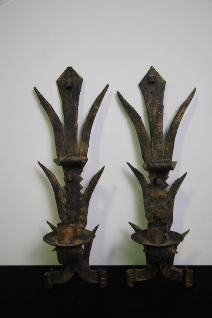 Wrought Iron Wall Sconces  (Spain) Pair