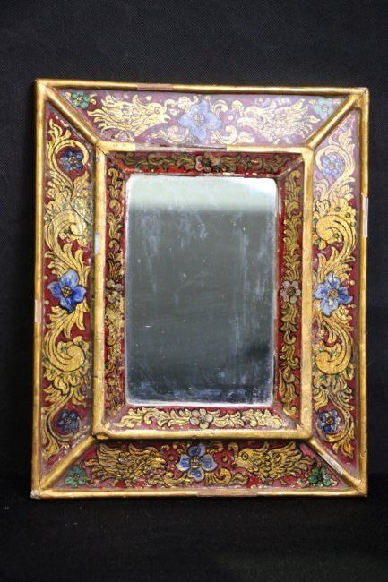 Antique Reverse Painted Glass Mirror
