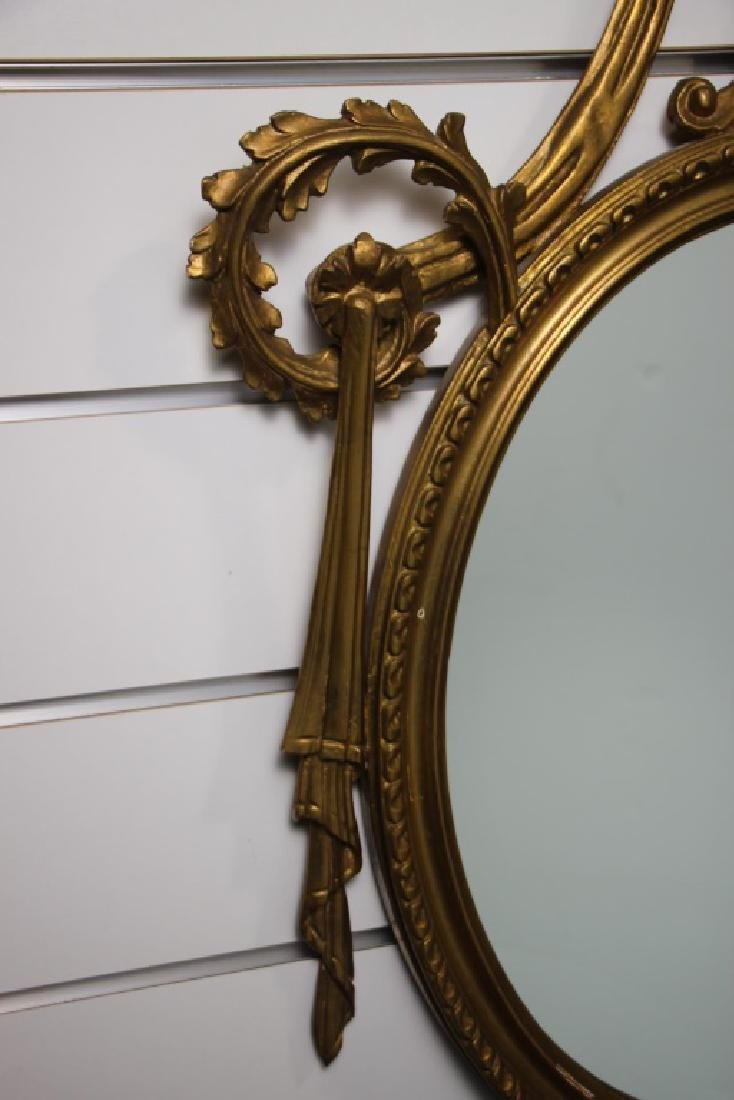 French Style Gold Oval Mirror - 3
