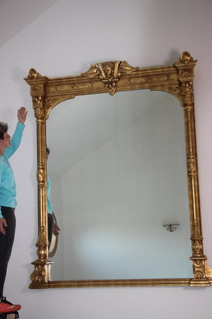 19th C. Monumental Gilt Wood Mirror