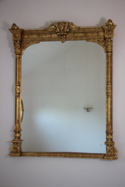 19th C. Monumental Gilt Wood Mirror - 2