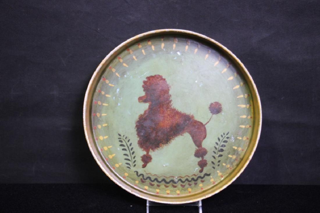 Poodle Painted on Metal Pan