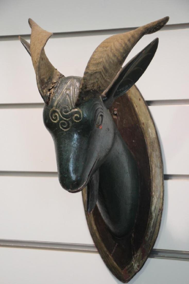 Antique 19th C. Ram's Head of Wood with Ram's Horns