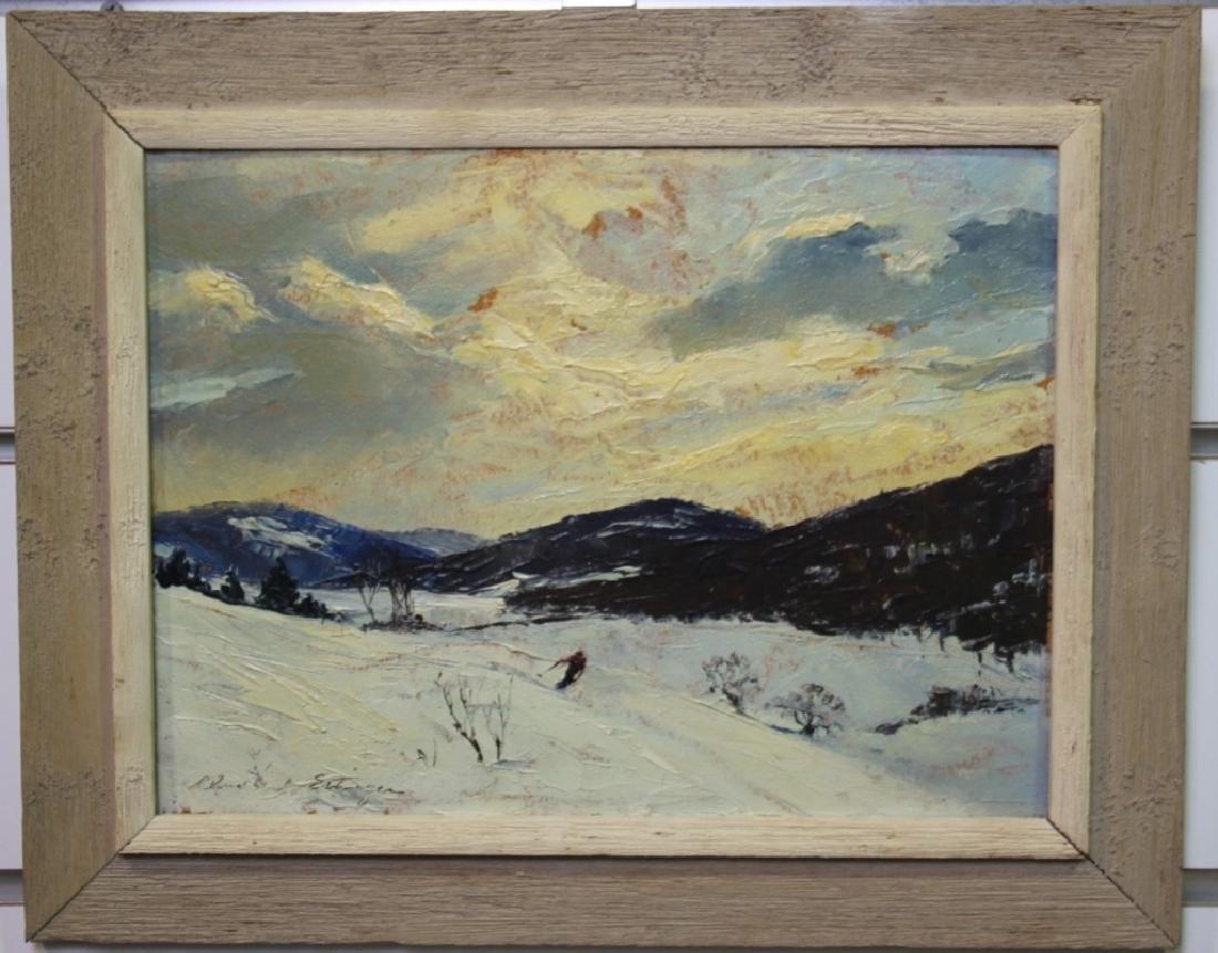 Churchill Ettinger, Snow Scene w/Skiier (1903-84)
