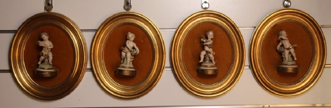 4 Putti in Gold Gilted Frames