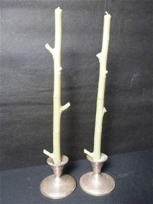 Sterling Silver Candle Stick Holders w/Candles