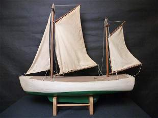 Model Sail Boat on Stand 3 Masts w/Sails