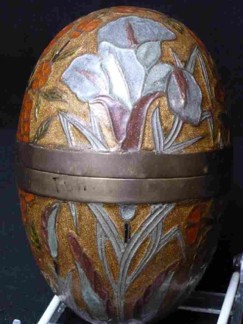 Brass Enameled Cloisonne Egg Decorated w/Flowers