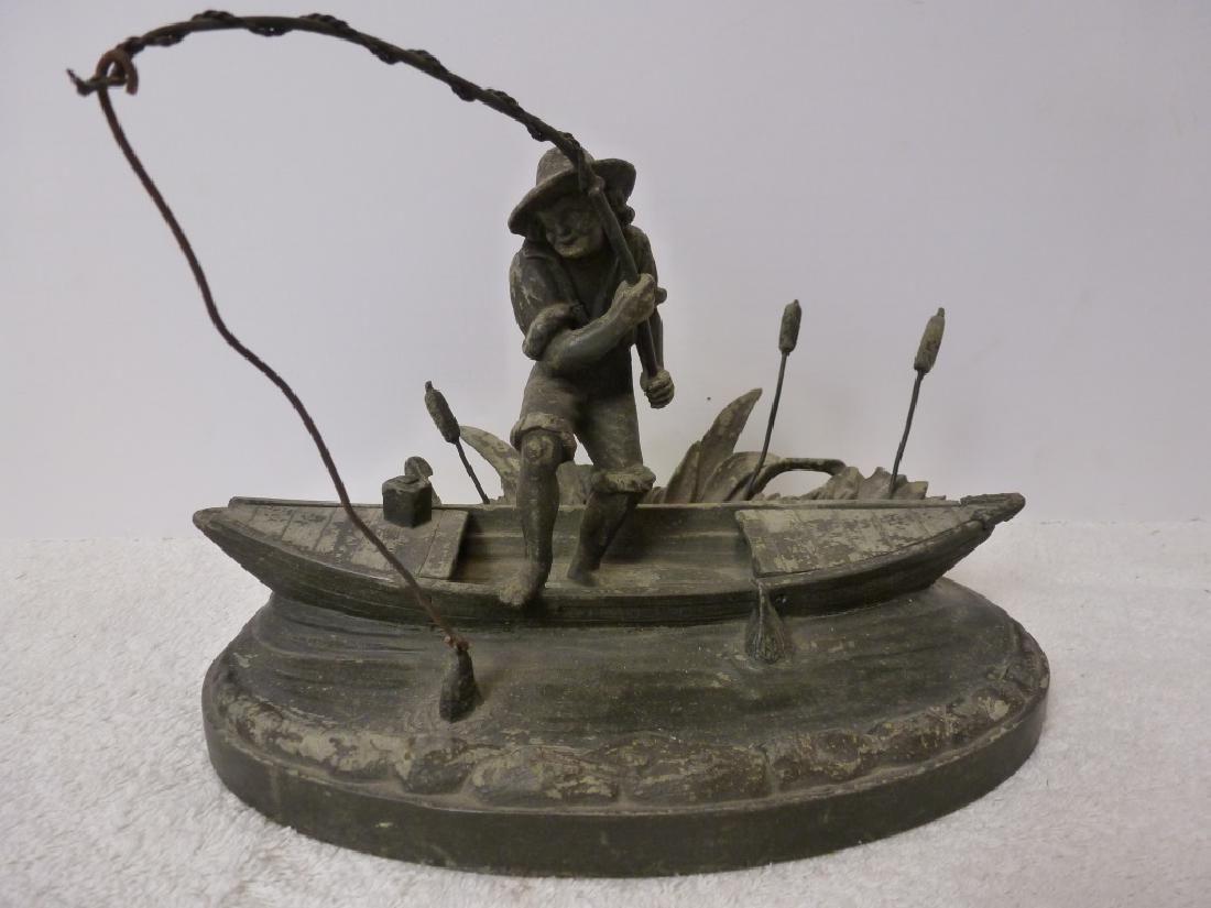 Cigarette Ash Tray - Boy Fishing in Boat