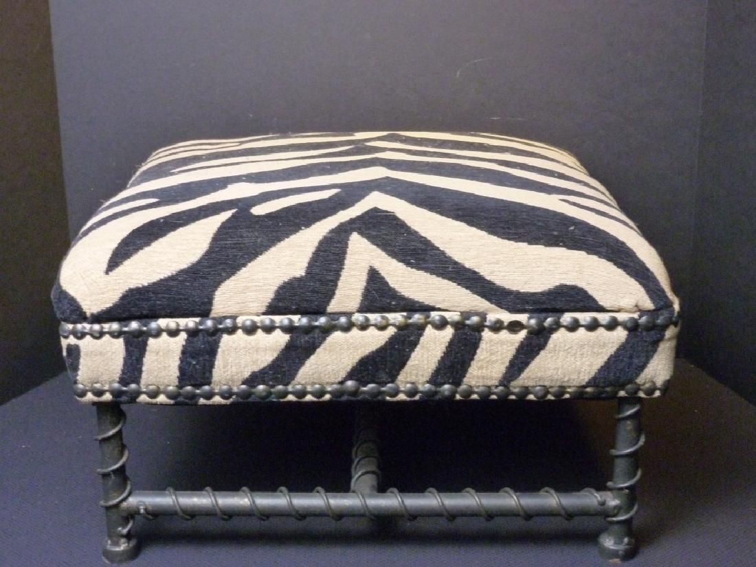 Metal Framed Foot Stool w/Zebra Design Fabric