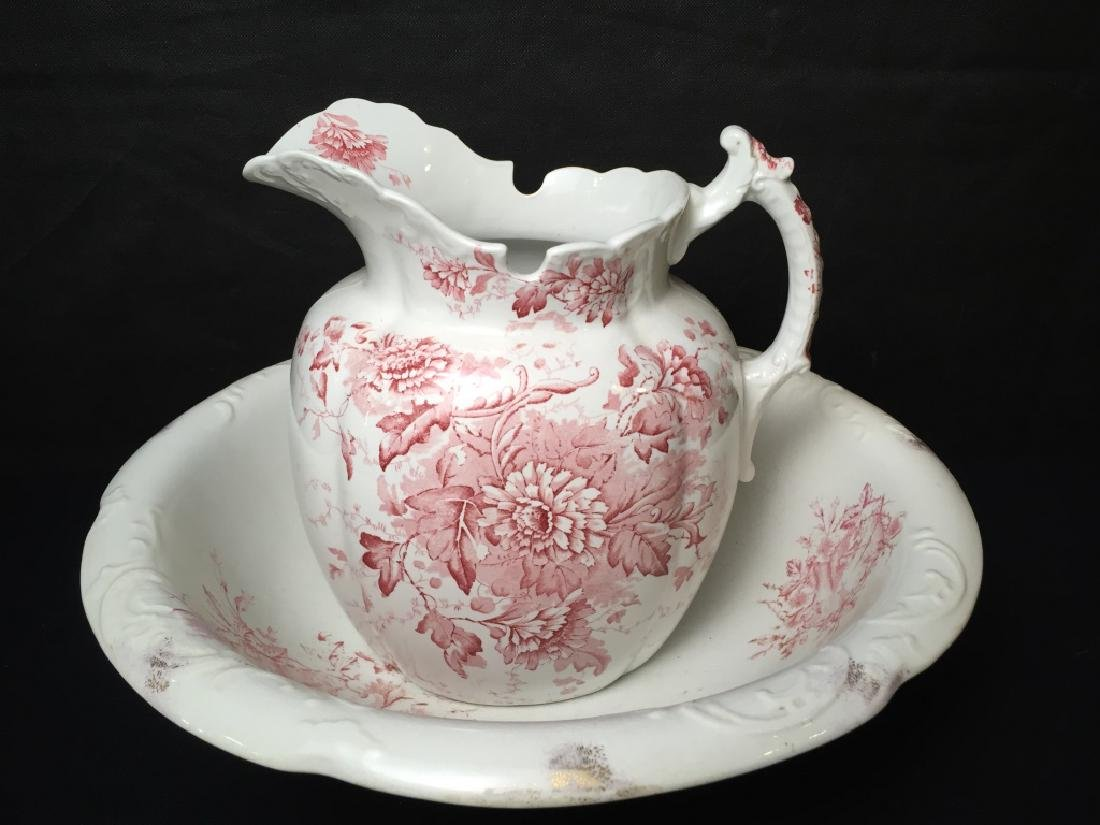 Pitcher and Wash Basin Red and White