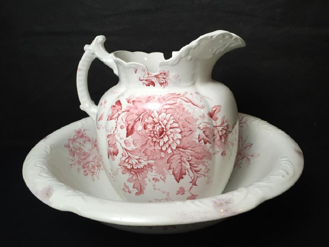 Pitcher and Wash Basin Red and White - 3