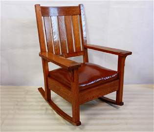 Gustav Stickley Signed Oak Rocking Chair