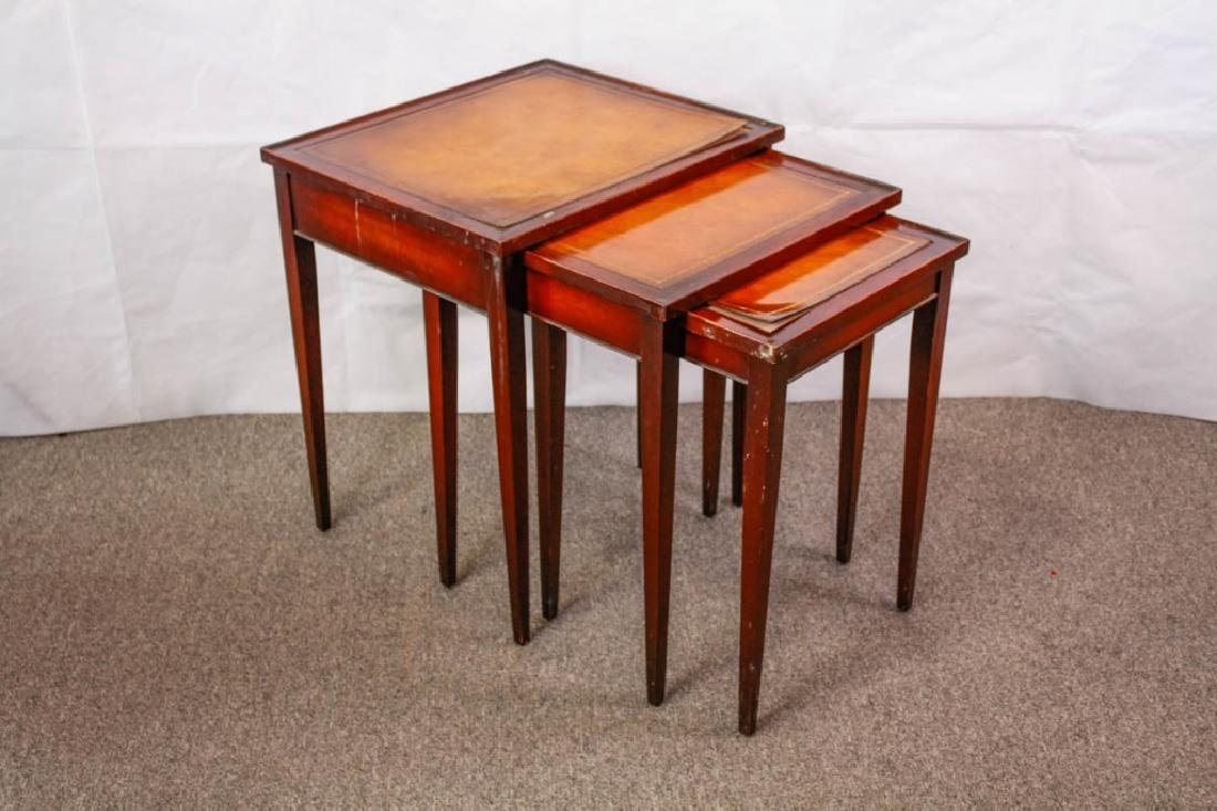 Imperial Mahogany Leather Top Nesting Tables (3)