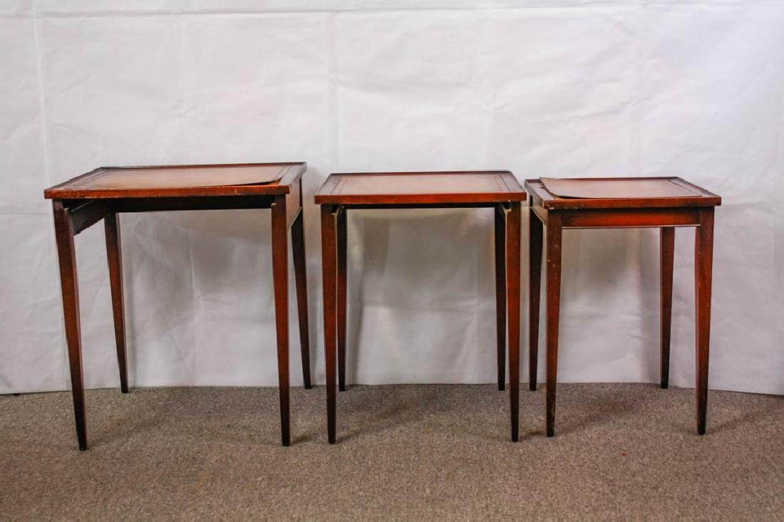 Imperial Mahogany Leather Top Nesting Tables (3) - 2