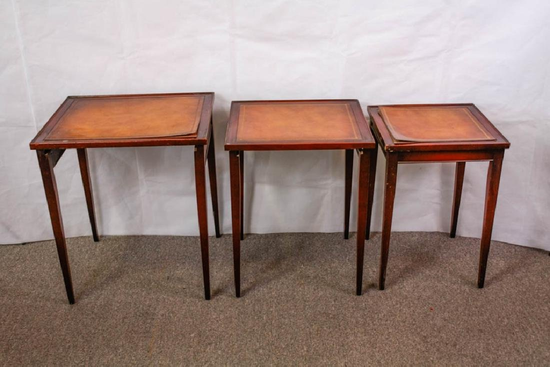 Imperial Mahogany Leather Top Nesting Tables (3) - 3