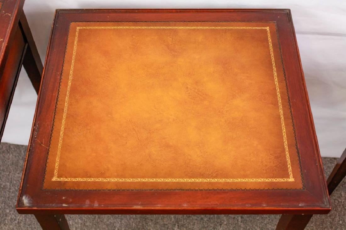 Imperial Mahogany Leather Top Nesting Tables (3) - 7