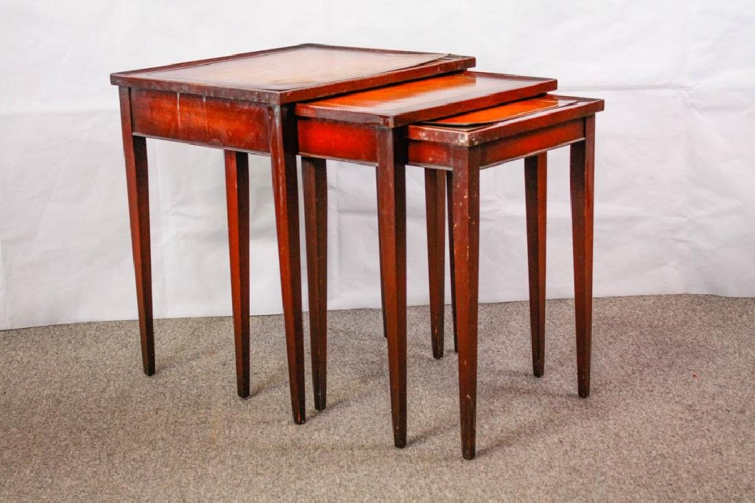Imperial Mahogany Leather Top Nesting Tables (3) - 8