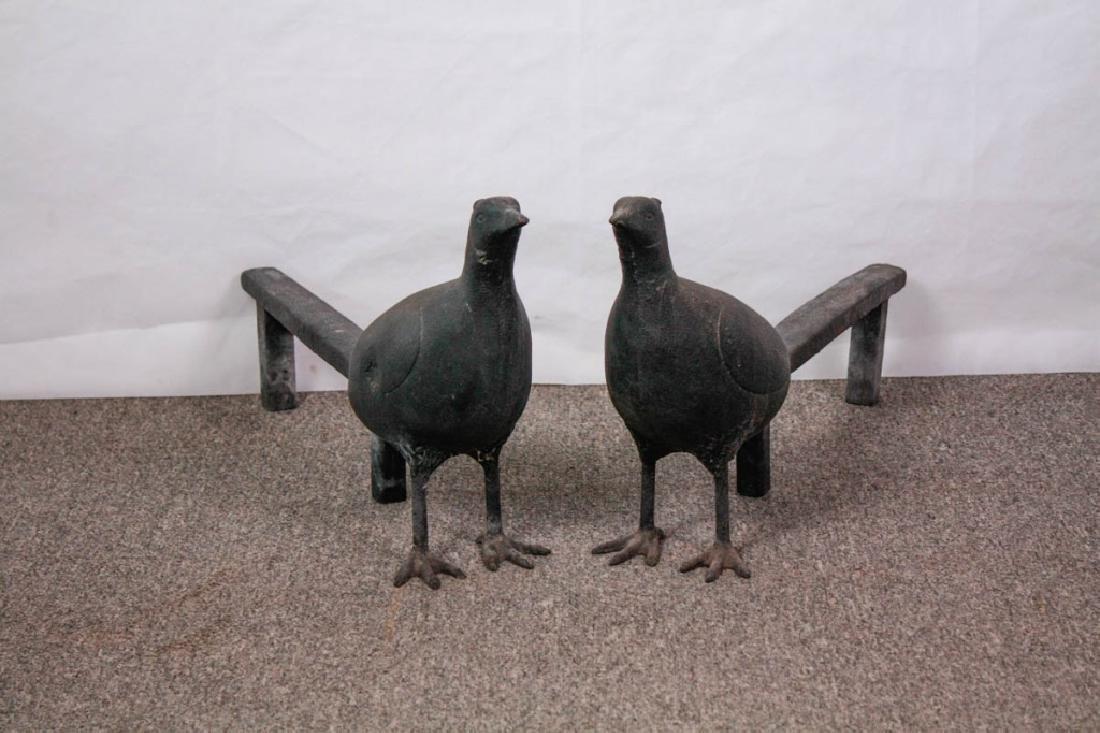 Pair of Cast Iron Pheasant Andirons