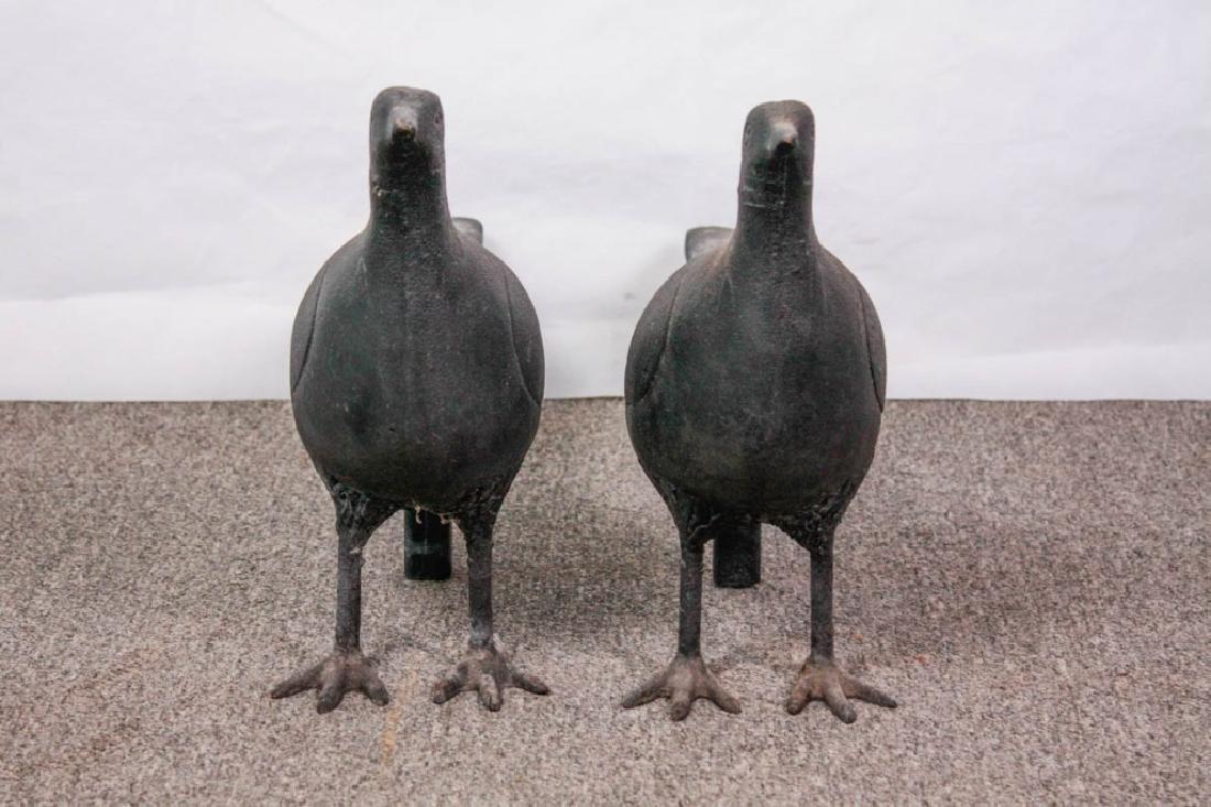 Pair of Cast Iron Pheasant Andirons - 2