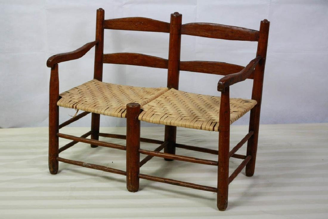 Rare 19th C. 2-Seat Child's Chair Buggy Bench