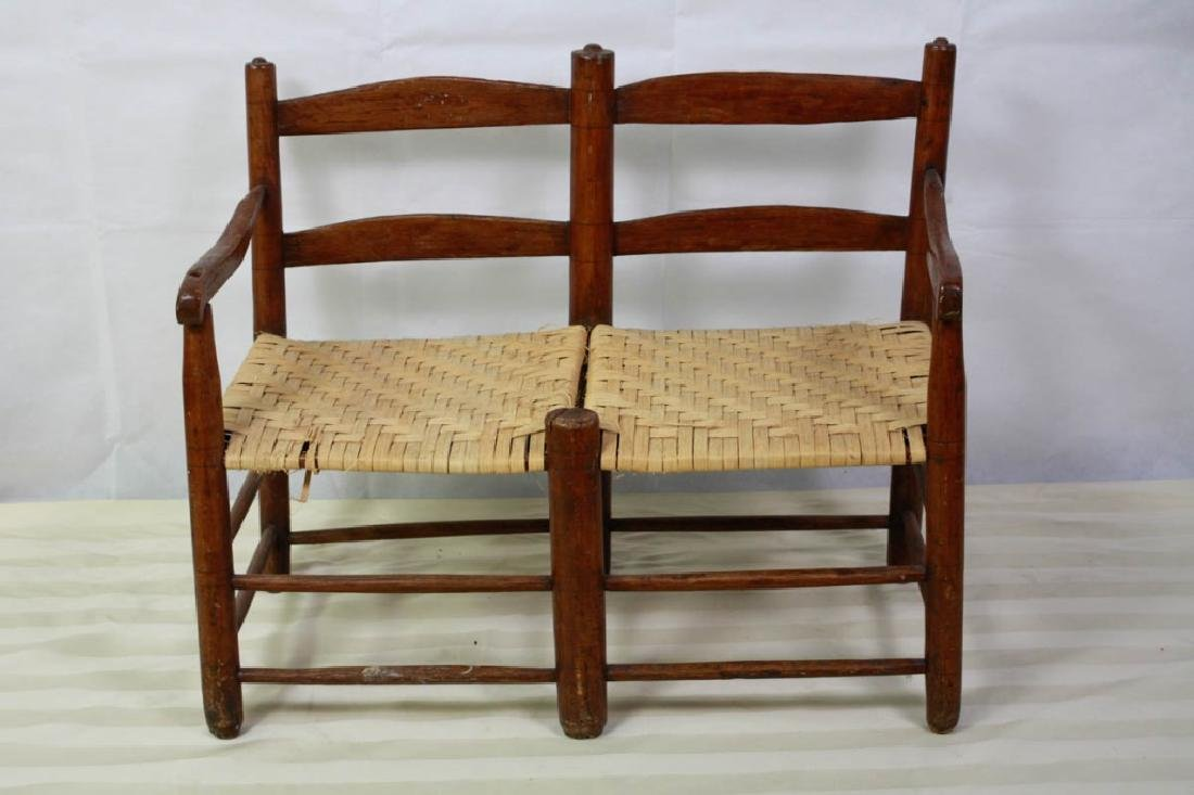 Rare 19th C. 2-Seat Child's Chair Buggy Bench - 2