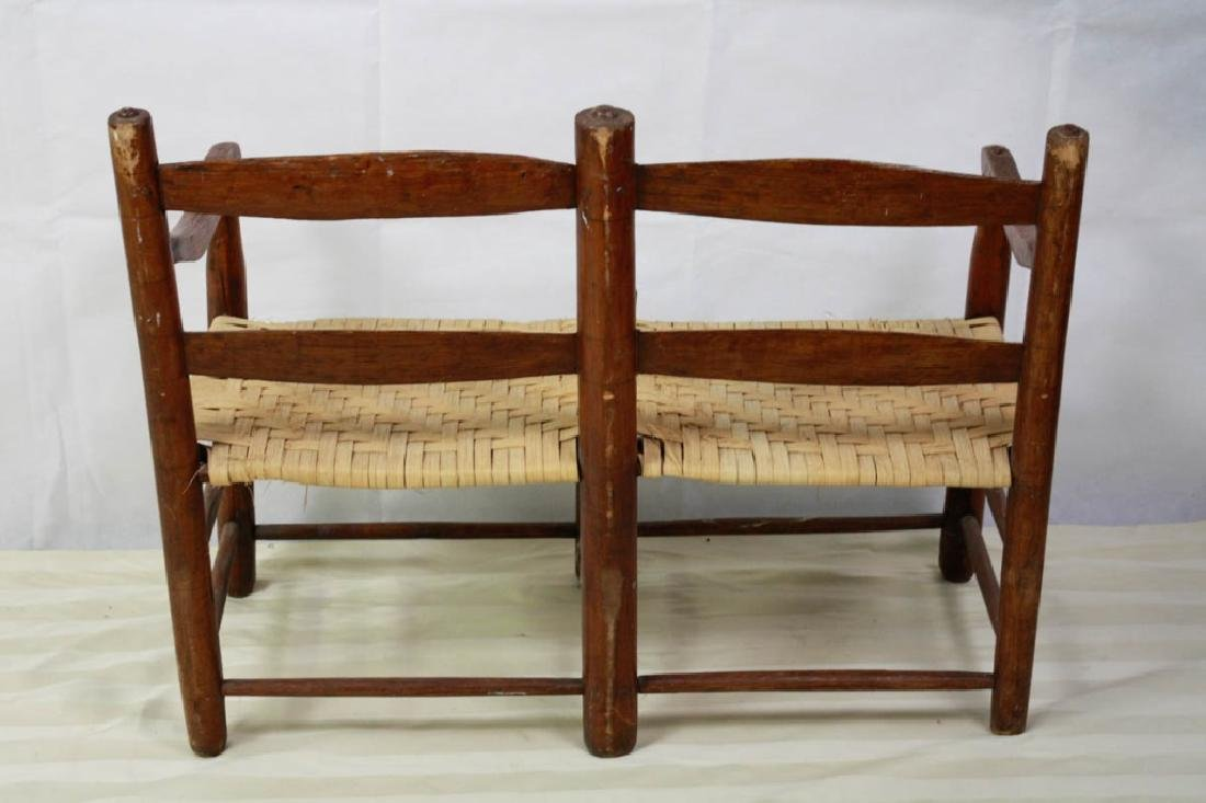 Rare 19th C. 2-Seat Child's Chair Buggy Bench - 6