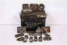 Black Tin Box & 18 Antique Soldered Cookie Cutters