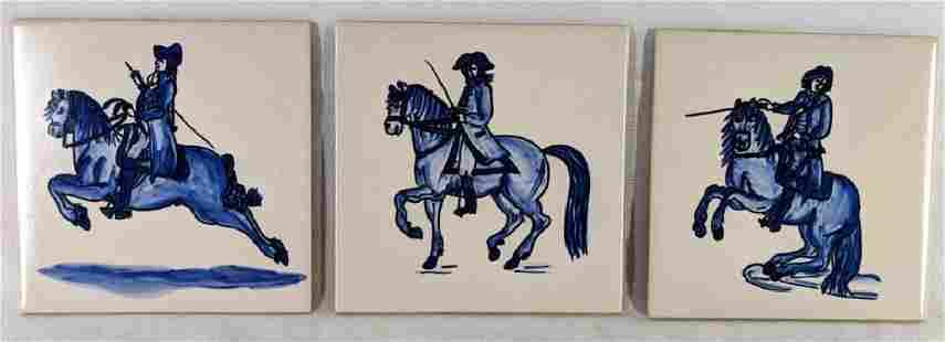 Blue White Equestrian Ceramic Tiles 3