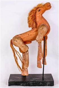 Wood Articulated Toy Horse on Stand