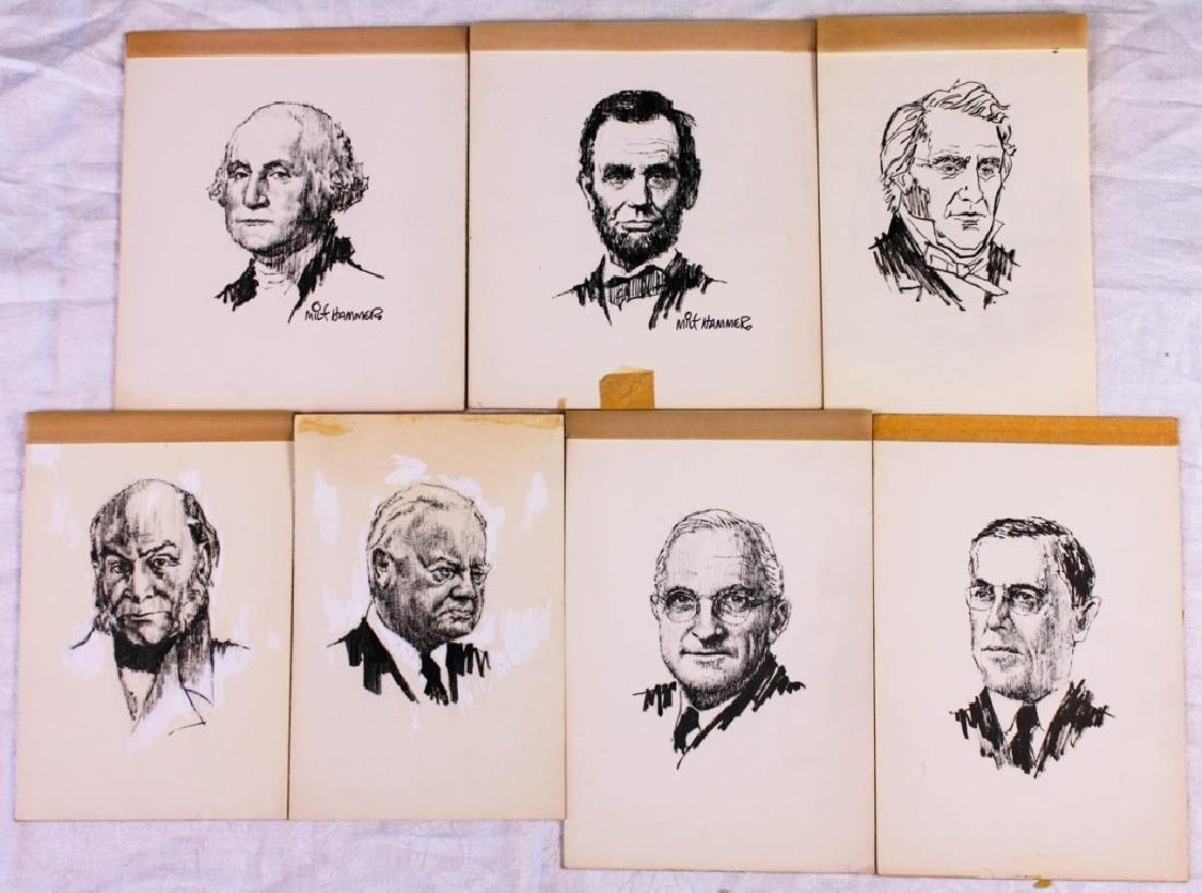 Original Presidential Portraits by Milt Hammer (7)