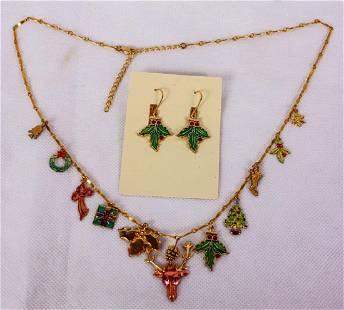 Christmas Charm Necklace Earrings