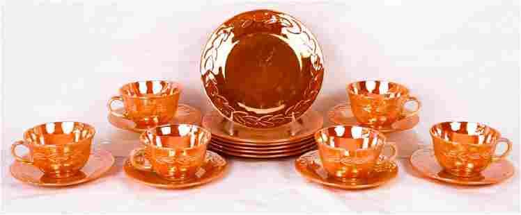 Fire King Peach Lusterware 18 Pc Dessert Service