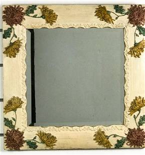 Mirror With Floral Ceramic Frame