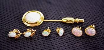 14K Gold  Opal Lapel Pin  Earrings